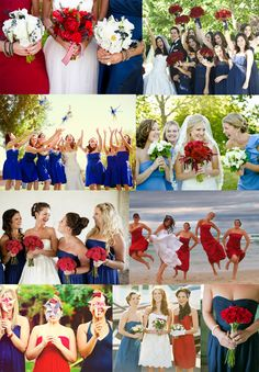 Red White & Blue Attire. Some flower ideas, and the pinwheels are a cute idea...