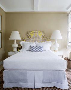 Headboard, Lamps, White Bedding