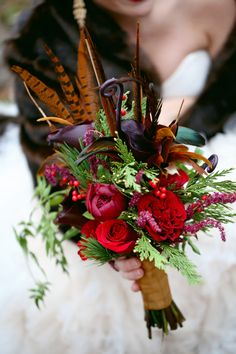 Dramatic Bridal Bouquet - Red, Pheasent Feathers | Photo by Frozen Exposure, Flowers by Enchanted Florist, Nashville Wedding Flowers