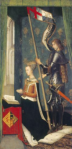 Margaret [Margaret of Denmark] (1456/7?–1486), by Hugo van der Goes, 1478 [kneeling, left, with St George]