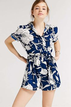$69.00 Kimchi Blue Belted Collared Romper | Urban Outfitters