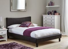 Jakarta Brown Faux Leather Bed Frame