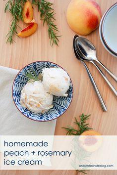 Homemade Peach + Rosemary Ice Cream by Miranda of One Little Minute ...