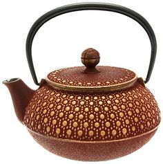 Iwachu Japanese Iron Tetsubin Teapot Honeycomb Gold and Burgundy *** Details can be found by clicking on the image.Note:It is affiliate link to Amazon.