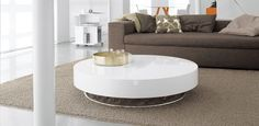 Arena konferenční stolek bílý / round coffee table in white