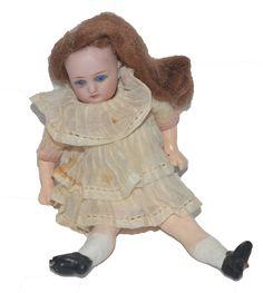 Antique Doll Miniature Bisque Head Dollhouse
