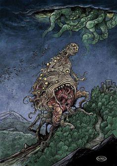 Paskal Millet Art The Dunwich Horror Lovecraft Cthulhu, Hp Lovecraft, Art Sombre, Le Kraken, The Dunwich Horror, Lovecraftian Horror, Folklore, Eldritch Horror, Horror Fiction