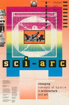 Poster for the fall 1986 lecture series, Changing concepts of space in architecture and art. H: 36 x W: 24 inches. Design: April Greiman. In the collection of the San Francisco Museum of Modern Art.