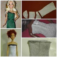 Kleider für Barbie und Co. aus Babysöckchen und Strumpfhosen | Bastelfrau