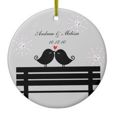 Wedding Date; Married Our First Christmas Christmas cute birds Tree Ornament
