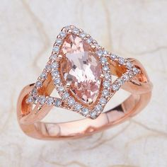 Marquise Morganite 14k Rose Gold Engagement Ring Center Is A 10x6 Marquise Morganite