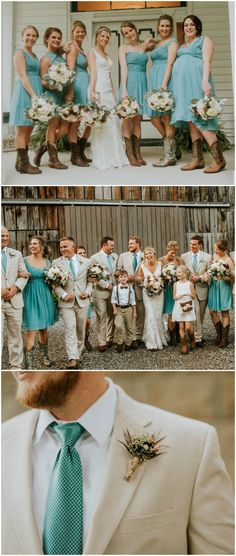 Turquoise blue fashion, bridesmaids in cowgirl boots, groomsmen in khaki suits, rustic wedding // Caitlin Steva Photography