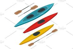 Rafting and kayaking icons collection. Isometric plastic kayak water recreational, touring or travel transport. Flat 3d illustration for infographics and design. Water Infographic
