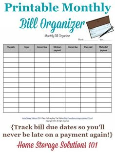 Free printable monthly bill organizer to help you track when your bills are due so you never miss a payment courtesy of Home Storage Solutions 101 Financial Organization, Bill Organization, Organizing Monthly Bills, Organizing Paperwork, Organizing Tips, Cleaning Tips, Bill Planner, Happy Planner, Daycare Forms