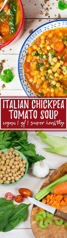 This vegan Italian chickpea tomato soup is one of my all-time favorite vegan soups or vegetable soups in general! It's super easy to make, incredibly delicious, and packed with protein! It's a great v (Italian Recipes Soup) Great Vegan Recipes, Quick Vegetarian Meals, Vegan Dinners, Whole Food Recipes, Cooking Recipes, Healthy Recipes, Snacks Recipes, Cake Recipes, Cooking Ideas