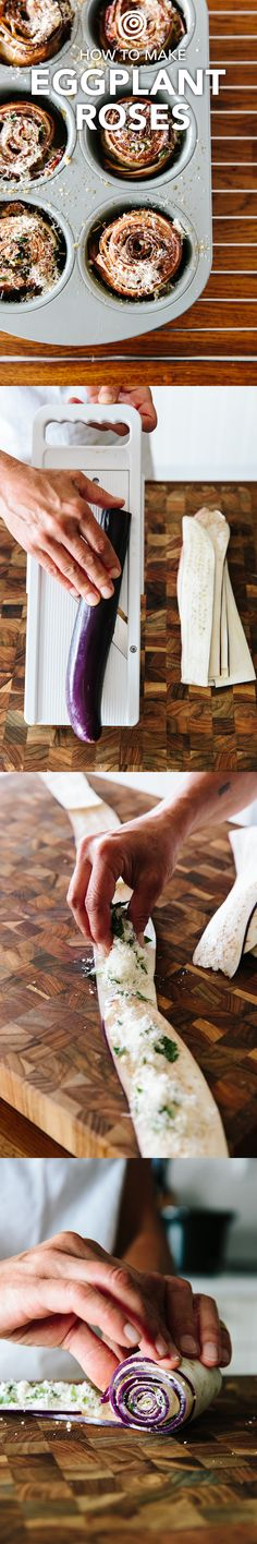 This eggplant recipe tops all others - including eggplant parmesan and eggplant lasagna. It's like a rollatini or roll ups, but better because it ends in edible roses! They're SO easy and so impressive to serve at a dinner party. Delicious, beautiful, and simple - a perfect combo.