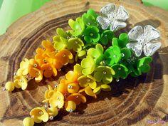 Long Stud earrings Greenery Jewelry fashion color Green Yellow Gradient Jewelry Clusters earrings Floral jewelry Statement earrings by KsuhaJewelryFlowers on Etsy