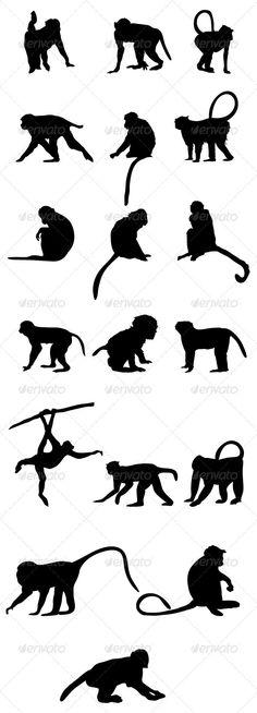 monkey-silhouettes-vector-black-four-legs-zoo-animal-wild-stupid-trees-.jpg (590×1635)