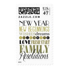 New Year's Eve Black and Gold Postage Stamp