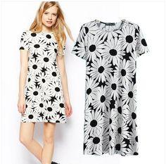 2014 New Fashion Women Dresses Big Sunflower Printed Black and White Dress for Summer wear Dresses Online Usa, Party Dresses Online, Cheap Dresses, Dresses For Sale, Summer Dresses, Online Dress Shopping, Preppy Style, Women's Fashion Dresses, Short Sleeve Dresses