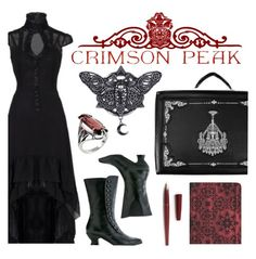 """""""Indulge Your Dark Side with Crimson Peak : Contest Entry"""" by jenpretend ❤ liked on Polyvore featuring Fountain and vintage"""