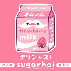 Cute milk carton with milk mustache and happy strawberry.