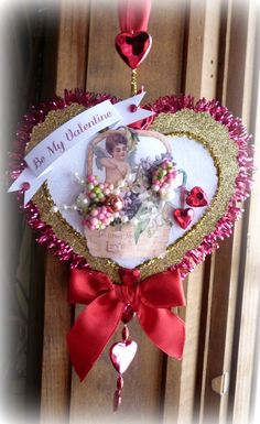 Red Vintage Inspired Valentine Ornament by twojackmama on Etsy