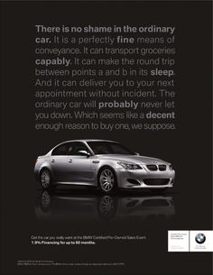 BMW Print Ad - Would like this with less text Ad Car, Car Advertising, Round Trip, Print Ads, Creative Director, The Ordinary, Typography Design, How To Memorize Things, Writer