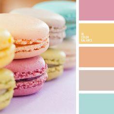 amarillo, anaranjado, anaranjado suave, azul claro suave, celeste, colores contrastantes, colores suaves, combinaciones de colores, matices de colores pastel, rosado, rosado suave, tonos anaranjados, verde lechuga suave, violeta suave.