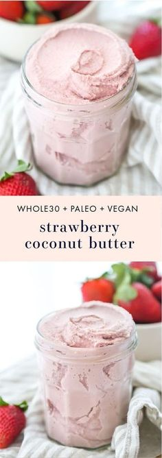 This strawberry coconut butter is rich, creamy, and fruity. You'll want a jar of this Whole30 coconut butter in your fridge all summer long! Made with only 2 ingredients, it only takes a few minutes to come together, and you'll fall in love with this Whole30 coconut butter. Promise!