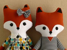 Two Fabric Doll Foxes  Boy and Girl Fox Doll Rag Dolls