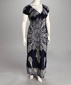 Take a look at this Navy Smocked Cap-Sleeve Plus-Size Maxi Dress by Life and Style Fashions on #zulily today!