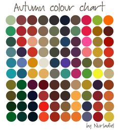 Autumn color chart   Season Color Analysis - As the seasons change throughout the year your personal season will remain unwavering further enhancing your natural beauty. When you are an autumn color type, all clothing in colors of this chart will look great on you.
