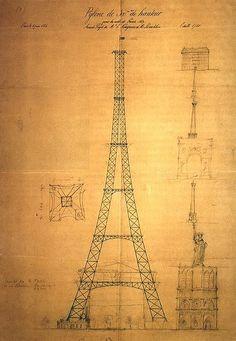 Este dibujo, realizado el 6 de junio de 1884 por Maurice Koechlin, es el primer boceto de la torre de 300 metros, que más tarde se convirtió en la Torre Eiffel.