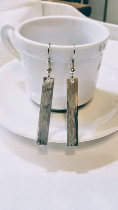 Hammered Bar Earrings Aluminum by Studio4150 on Etsy