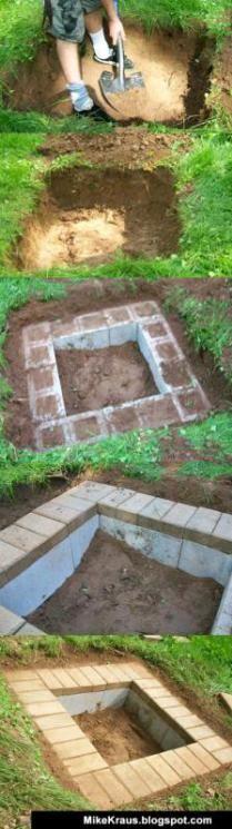 anleitung zum bau einer feuerstelle im garten mit steinziegeln, Gartenarbeit ideen