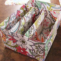 Craft Green! Earth Day Eco-Friendly Craft Projects. Create a craft room organizer using old cereal boxes and beautiful wrapping paper!