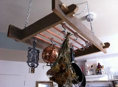 reclaimed barn wood pot rack