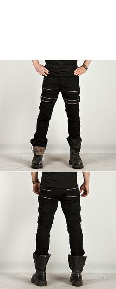 Bottoms    Striking Heavy Distressed Multi-zipper Accent Slim Pants - 62 -  New and Stylish - Fast Mens Fashion - Mens Clothing - Product b1808a31854b4
