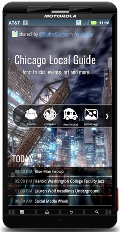 Chicago Local Guide: Calendar of EVENTS, Food Trucks, ART galleries, culture, points of interest, sports and more. Blue Man Group, Open Data, Food Trucks, My Town, Event Calendar, Galleries, Chicago, Social Media, Events