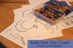 Here's a fun and frugal indoor activity!  Head on over to Mama's Learning Corner for the instructions and printables for your kids to create their own town on a shower curtain.