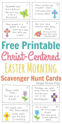 Christ-Centered Easter Morning Scavenger Hunt for Preschoolers - FREE Printable! centered Easter traditions Christ-Centered Easter Morning Scavenger Hunt for Preschoolers - FREE Printable! - Happy Home Fairy Easter Games, Easter Crafts For Kids, Easter Story For Kids, Easter Story For Preschoolers, Easter Decor, Easter Centerpiece, Easter Jesus Crafts, Easter Table, Easter Activities For Preschool