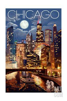 Chicago, Illinois - Skyline at Night Premium Giclee Print by Lantern Press at Art.com
