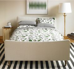 Botanicals and stripes in the bedroom.