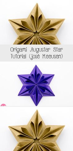 Origami Augustar Star Tutorial (José Meeusen) via box geometric Origami Lamp, Origami Fox, Origami Turtle, Origami Modular, Origami Cube, Geometric Origami, Origami Elephant, Origami Stars, Diy Origami