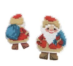 """Decorative Santa Ornament with his rose checks and toy bag, great gift for the children or someone that is just learning the joys of stitching. The Design size is 2.5"""" x 3.25"""". This kit comes with: Colored Instructions, Plastic Canvas 10, woolen and acrylic yarn Safil (10 colors) and needle."""