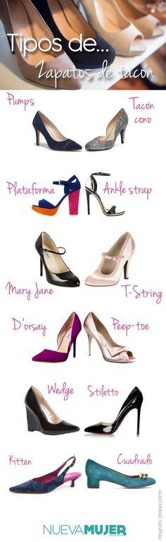Tipos de #zapatos, #tacones y #tacos ¿cómo se llaman y cuáles son? #Pumps, #stilettos, #maryjane, #kitten, #peeptoe y más