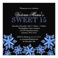 Sparkle Snowflakes Blue Sweet 15 Winter Wonderland Card - birthday gifts party celebration custom gift ideas diy