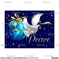 Peace on Earth. Merry Christmas and a Happy New Year. Peace Dove design Customizable Christmas and New Year's Postcards. Matching cards, postage stamps and other products available in the Christmas and New Year Category of the artofmairin store at zazzle.com.