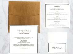 Monochrome Invitation Suite with Premium Kraft Envelope. Printed with black ink OR upgrade this suite to Letterpress! Amazing!